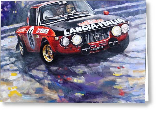 1972 Rallye Monte Carlo Lancia Fulvia 1600hf Munari Mannucci Winner Greeting Card by Yuriy Shevchuk