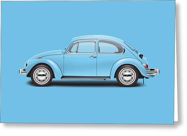 1972 Volkswagen Super Beetle - Marina Blue Greeting Card by Ed Jackson