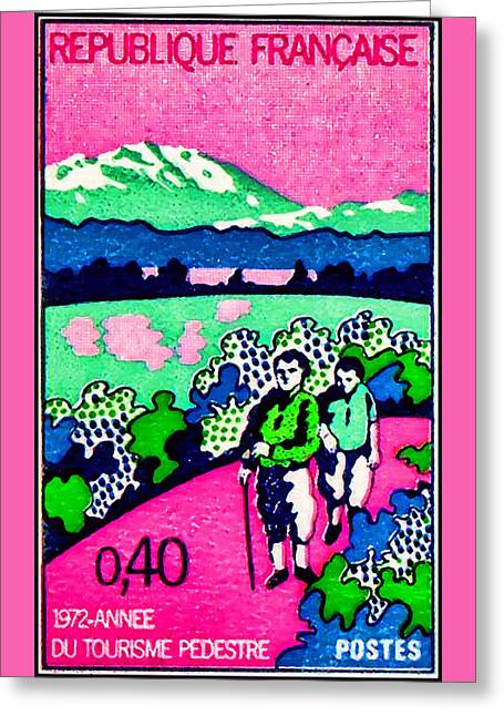 1972 Year Of Walking Tourism Greeting Card by Lanjee Chee