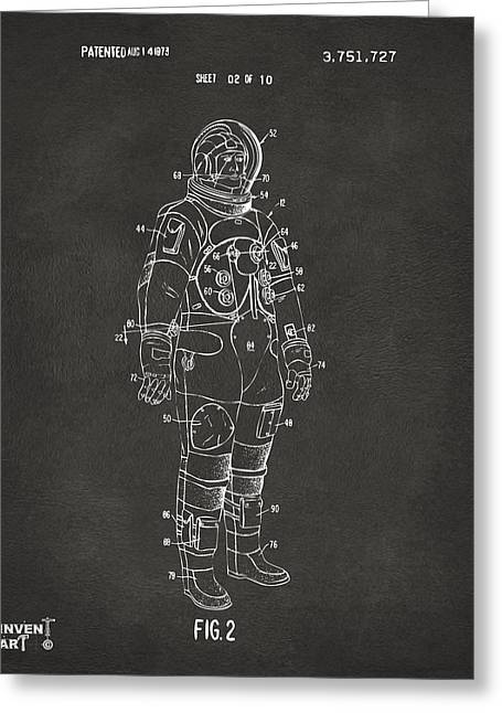 Alien Drawings Greeting Cards - 1973 Astronaut Space Suit Patent Artwork - Gray Greeting Card by Nikki Marie Smith