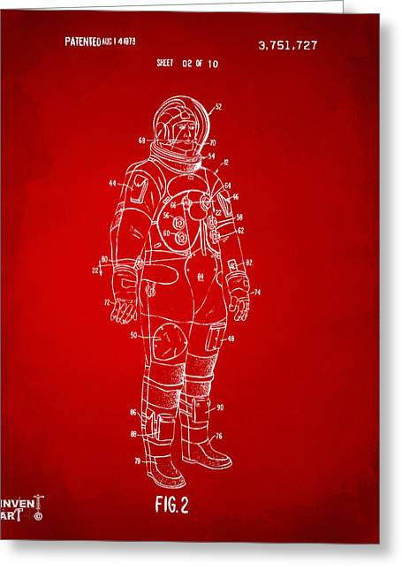 Extraterrestrial Greeting Cards - 1973 Astronaut Space Suit Patent Artwork - Red Greeting Card by Nikki Marie Smith