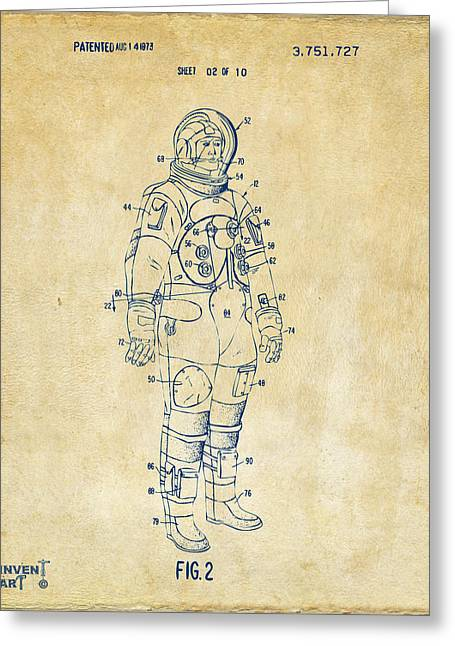 Extraterrestrial Greeting Cards - 1973 Astronaut Space Suit Patent Artwork - Vintage Greeting Card by Nikki Marie Smith