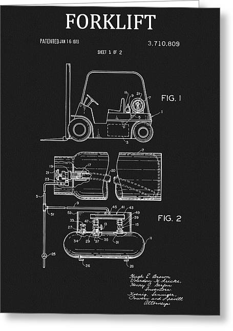 1973 Forklift Patent Greeting Card by Dan Sproul