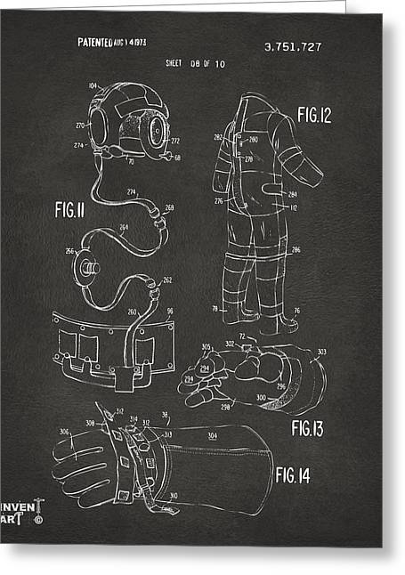 Alien Drawings Greeting Cards - 1973 Space Suit Elements Patent Artwork - Gray Greeting Card by Nikki Marie Smith