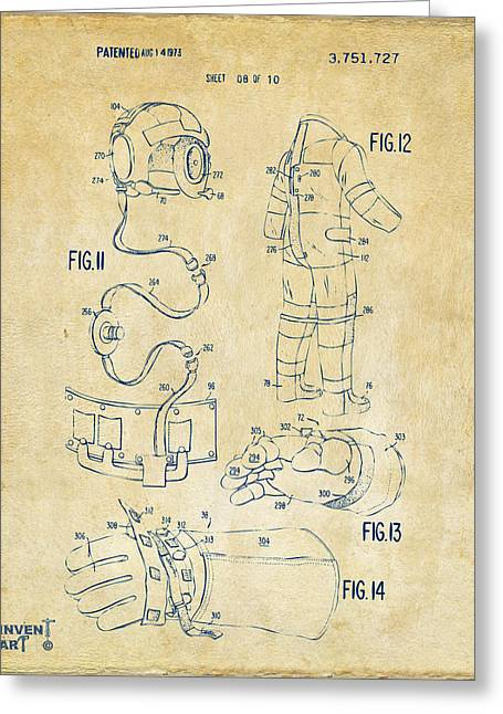 1973 Space Suit Elements Patent Artwork - Vintage Greeting Card by Nikki Marie Smith