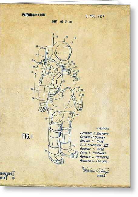 Alien Drawings Greeting Cards - 1973 Space Suit Patent Inventors Artwork - Vintage Greeting Card by Nikki Marie Smith