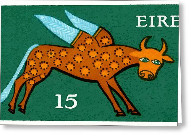 1975 Ireland Winged Ox Postage Stamp  Greeting Card