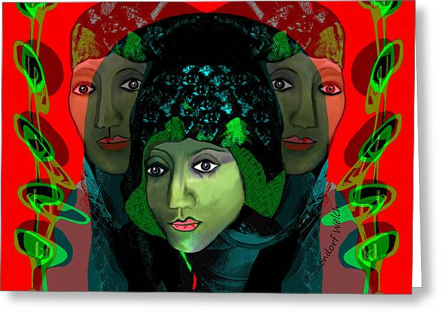 Greeting Card featuring the digital art 1975 - Mystery Woman by Irmgard Schoendorf Welch