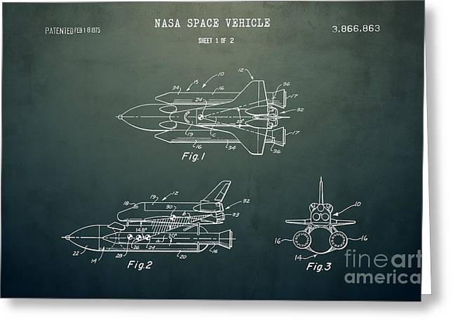 1975 Nasa Space Shuttle Patent Art 5 Greeting Card by Nishanth Gopinathan