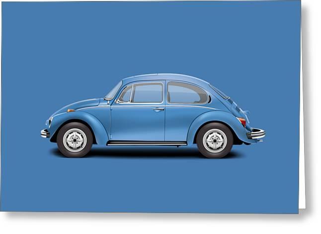 1975 Volkswagen Super Beetle - Ancona Blue Metallic Greeting Card by Ed Jackson