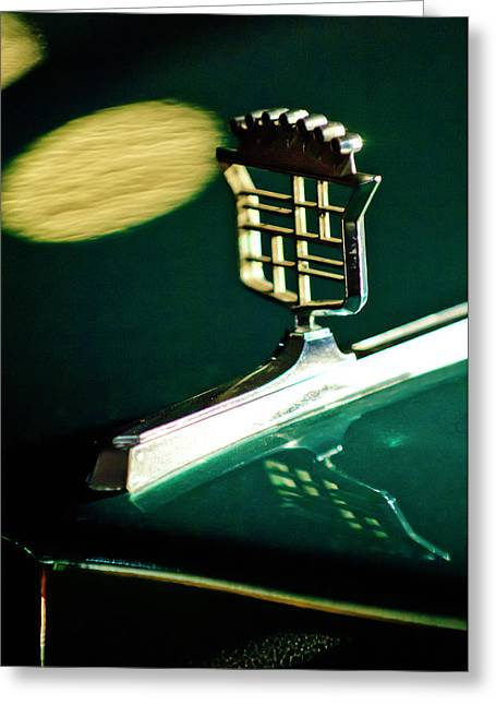 Car Mascot Greeting Cards - 1976 Cadillac Fleetwood Hood Ornament Greeting Card by Jill Reger