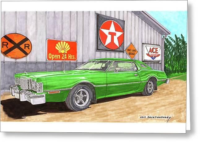 Greeting Card featuring the painting 1976 Ford Thunderbird by Jack Pumphrey