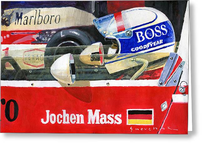 1976 Jarama Marlboro F1 Team Mclaren Jochen Mass Greeting Card by Yuriy Shevchuk