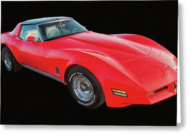 1977 Chevy Corvette T Tops Digital Oil Greeting Card
