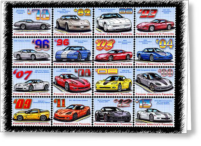 Championship Drawings Greeting Cards - 1978 - 2013 Special Edition Corvette Postage Stamps Greeting Card by K Scott Teeters