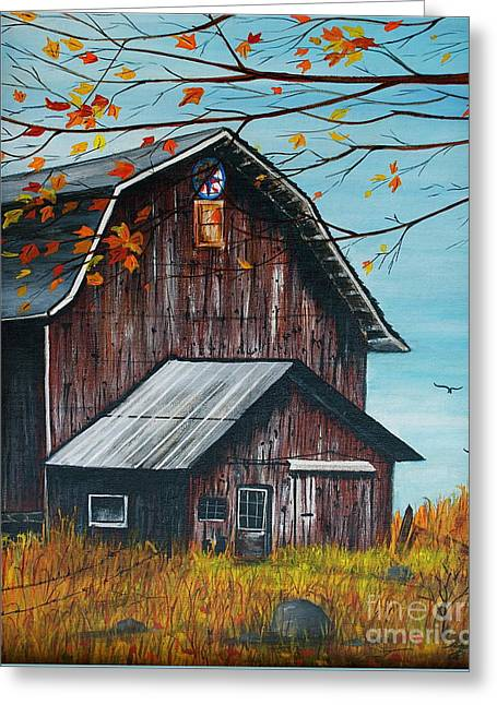 1980 Barn Greeting Card by Linda Simon