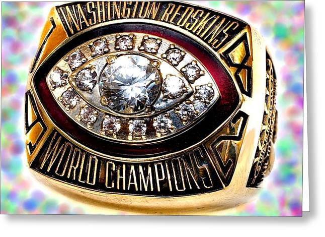 Ring Jewelry Greeting Cards - 1982 Redskins Super Bowl Ring Greeting Card by Paul Van Scott