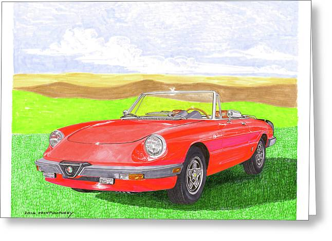 Greeting Card featuring the painting 1983 Alfa Romero Spider Veloce by Jack Pumphrey