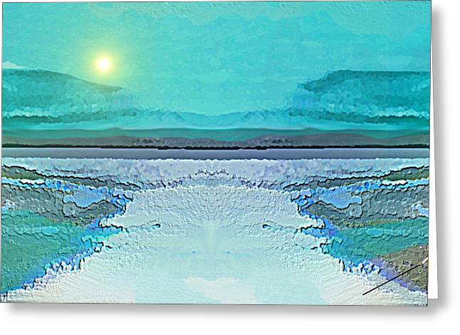 Greeting Card featuring the digital art 1983 - Blue Waterland -  2017 by Irmgard Schoendorf Welch