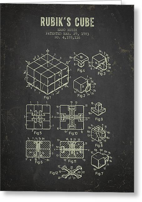 1983 Rubiks Cube Patent - Dark Grunge Greeting Card