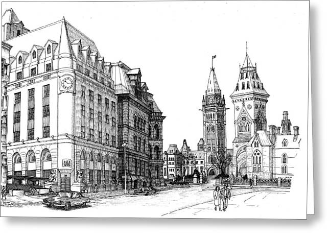 1984 Elgin And Sparks Sts Ottawa Greeting Card by John Cullen