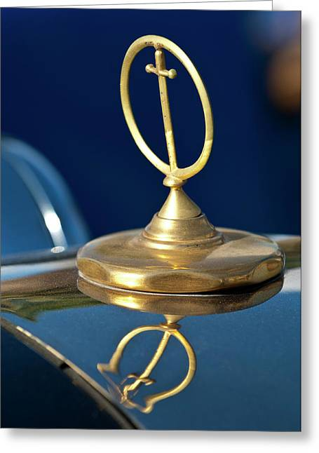 Car Mascot Greeting Cards - 1984 Excalibur Roadster Hood Ornament Greeting Card by Jill Reger