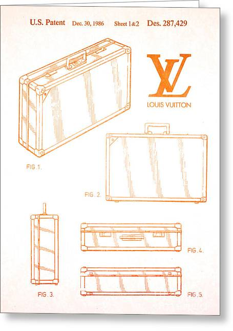 1986 Louis Vuitton Suitcase Patent 2 Greeting Card by Nishanth Gopinathan
