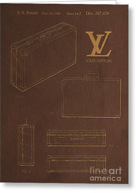 1986 Louis Vuitton Suitcase Patent 4 Greeting Card by Nishanth Gopinathan