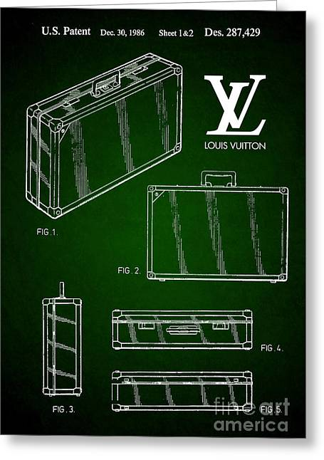 1986 Louis Vuitton Suitcase Patent 5 Greeting Card by Nishanth Gopinathan
