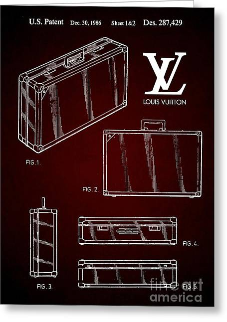 1986 Louis Vuitton Suitcase Patent 6 Greeting Card by Nishanth Gopinathan