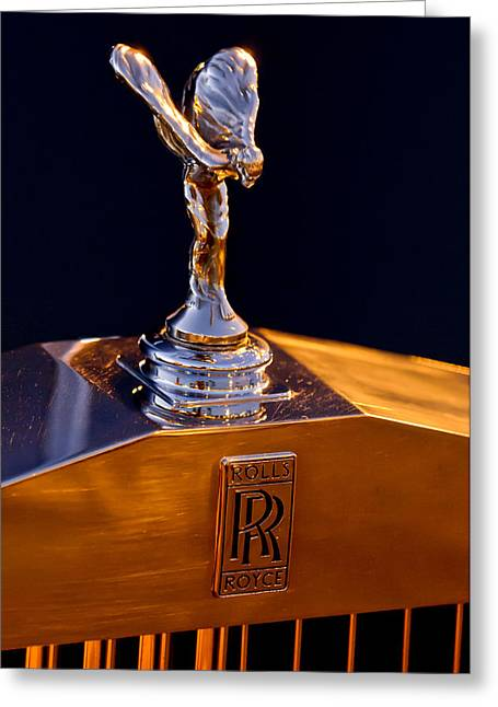 1986 Rolls-royce Hood Ornament Greeting Card by Jill Reger