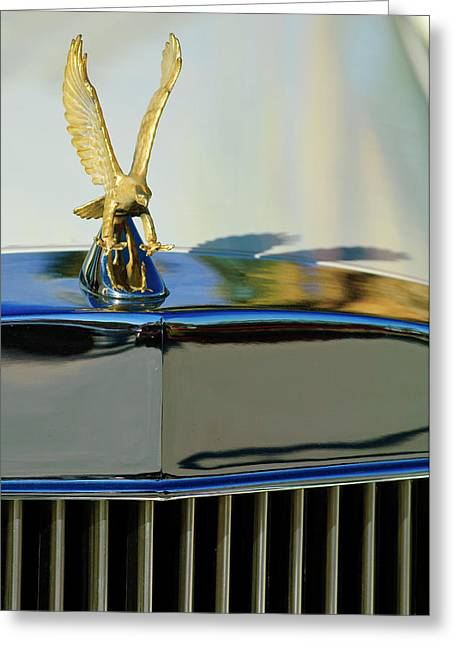 Car Mascot Greeting Cards - 1986 Zimmer Golden Spirit Hood Ornament 2 Greeting Card by Jill Reger