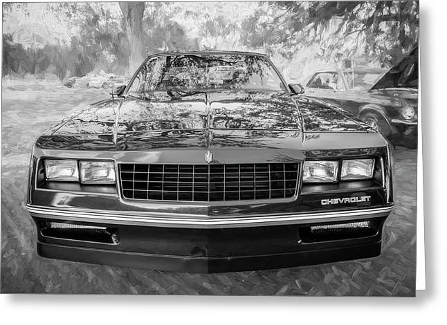 1987 Chevrolet Monte Carlo Ss Coupe Bw C122  Greeting Card by Rich Franco