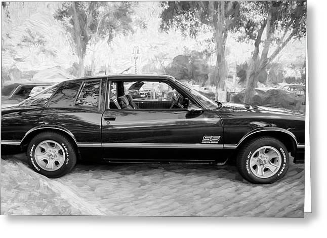 1987 Chevrolet Monte Carlo Ss Coupe Bw C124  Greeting Card by Rich Franco