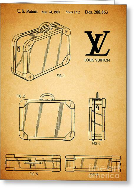 1987 Louis Vuitton Suitcase Patent 1 Greeting Card