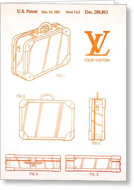 1987 Louis Vuitton Suitcase Patent 2 Greeting Card by Nishanth Gopinathan