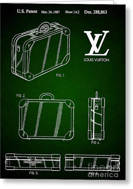1987 Louis Vuitton Suitcase Patent 5 Greeting Card by Nishanth Gopinathan