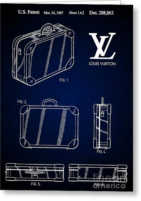 1987 Louis Vuitton Suitcase Patent 7 Greeting Card by Nishanth Gopinathan