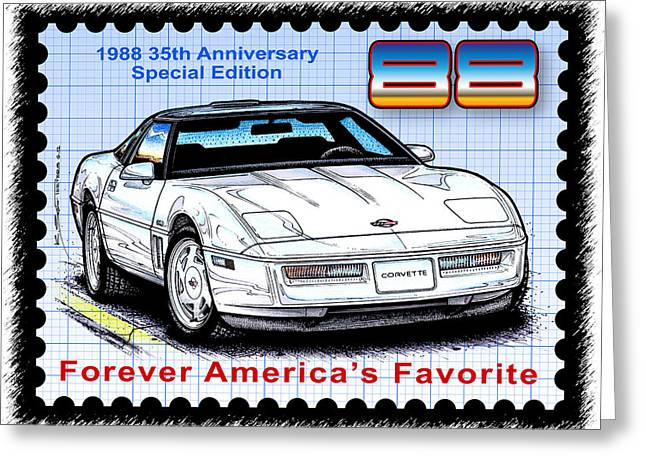 1988 35th Anniversary Special Edtion Corvette Greeting Card