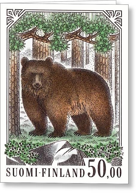 1989 Finland Brown Bear Postage Stamp Greeting Card