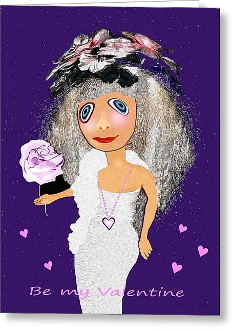 Greeting Card featuring the digital art 1989 -  I Want To Be Loved By You 2017 by Irmgard Schoendorf Welch