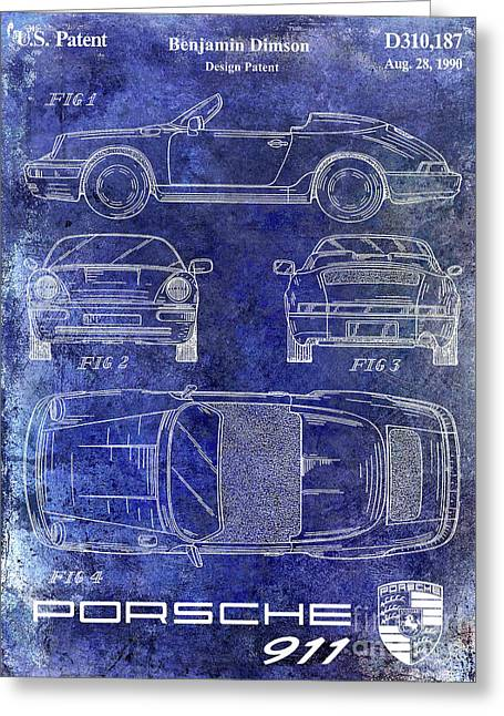 1990 Porsche 911 Patent Blue Greeting Card