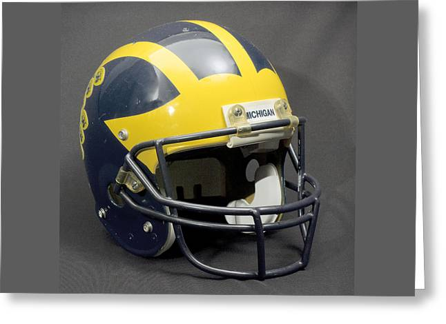 Greeting Card featuring the photograph 1990s Wolverine Helmet by Michigan Helmet