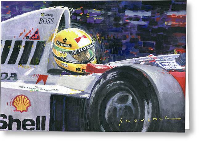 1990 Mclaren Honda Mp4 5b Ayrton Senna World Champion Greeting Card by Yuriy Shevchuk