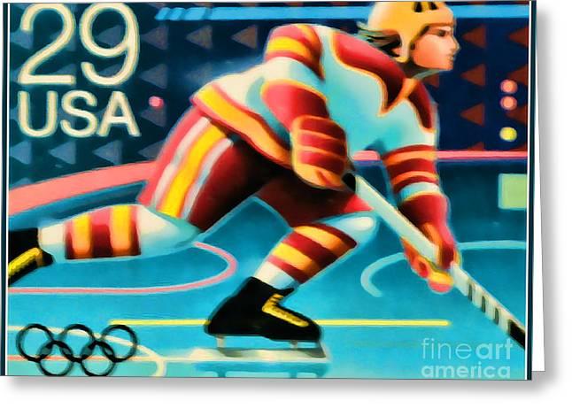 1992 Winter Olympics-hockey Greeting Card by Lanjee Chee