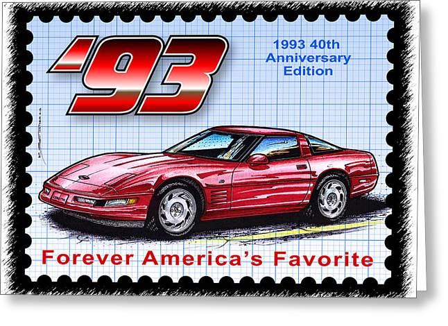1993 40th Anniversary Edition Corvette Greeting Card