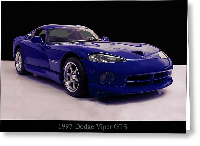 Greeting Card featuring the digital art 1997 Dodge Viper Gts Blue by Chris Flees