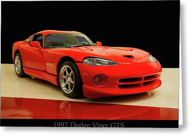 Greeting Card featuring the digital art 1997 Dodge Viper Gts Red by Chris Flees