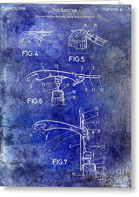 1998 Corkscrew Patent Blue Greeting Card by Jon Neidert