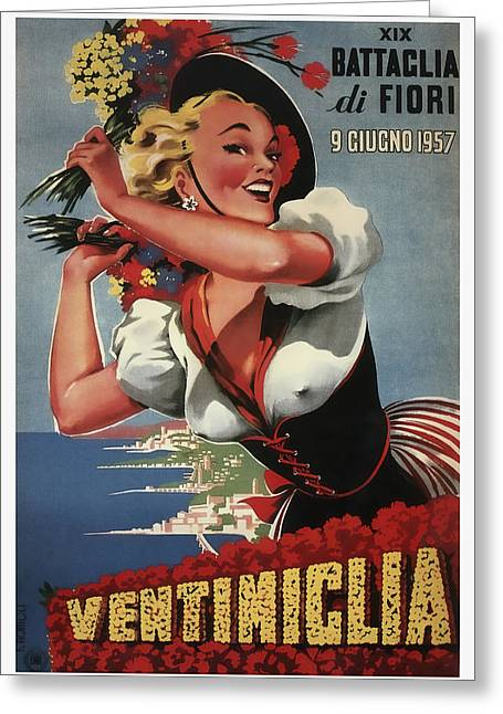 19th Annual Battle For Flowers In Ventimiglia Italy 1957 Greeting Card